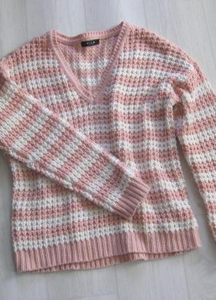 Вязаный свитер vila clothes розовый в белую полоску акрил