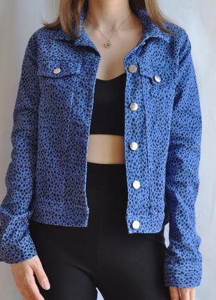 Джинсовая куртка синяя леопардовая горошек пятнистая пиджак джинсовка хлопок яркая