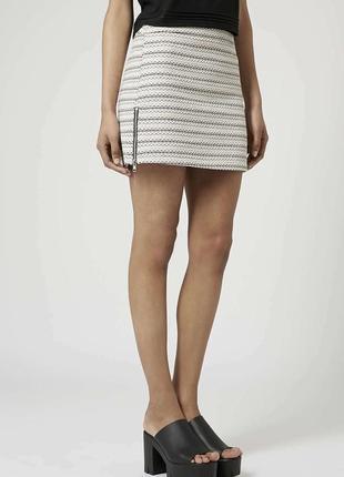 Стильная твидовая юбка из жаккардового переплетения с молниями от topshop 1+1=3 на всё 🎁