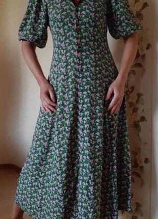 Невероятное платье  миди на пуговичках цветочный принт