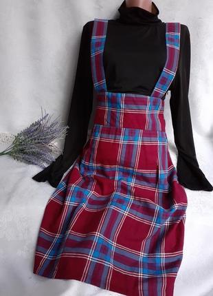 Lindy bop платье сарафан в шотландскую клетку водолазка и юбка карандаш вишневое