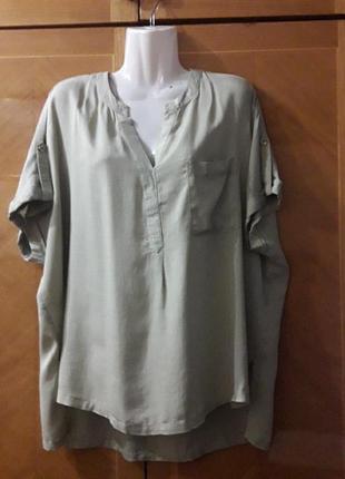 100% лиоцелл  р.16  натуральная  стильная свободная блуза  f & f