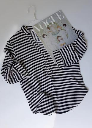 Блуза в полоску рукав 3/4 с золотыми пуговками