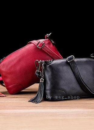 Универсальная женская кожаная сумочка на плечо чёрная красная жіночі сумки натуральна шкіра