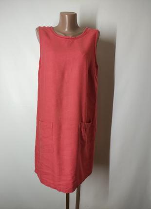 Натуральное льняное платье лен вискоза прямого кроя