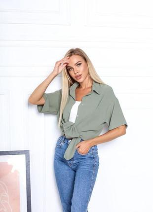 Оливковая рубашка жатка