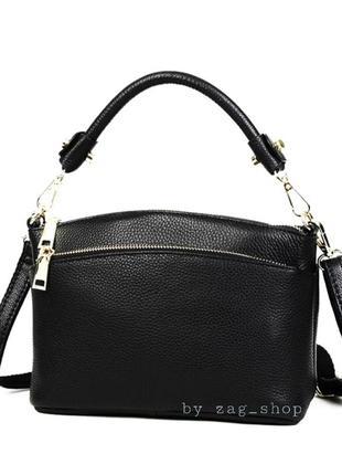 Тор🖤маленькая женская чёрная сумочка из натуральной кожи с короткой ручкой длинной на плечо жіноча сумка чорна