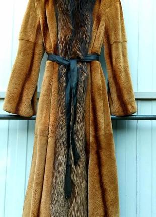 Шуба норковая  пальто в пол триммингованная мокко с енотом  р.л-хл
