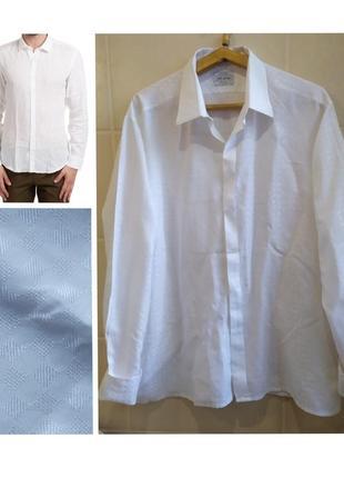 Французская белая рубашка в клетку с манжетами под запонки alkazar paris большого размера