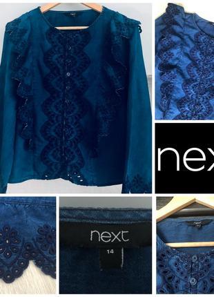 Ажурная джинсовая рубашка блуза прямого кроя  next xl/42/50 100% лиоцелл