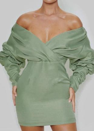 Оливковое платье мини