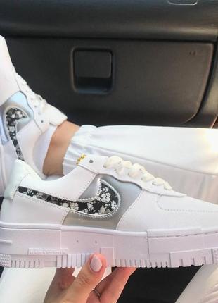 Nike pixel🆕женсике кожаные кеды-кроссовки найк пиксель🆕белые  с серебряным