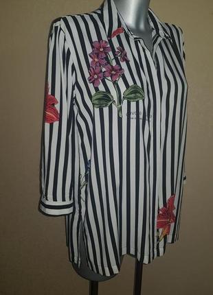 Свободная рубашка в полоску с цветами оверсайз oversize