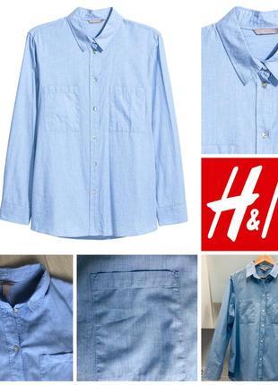Голубая базовая хлопковая рубашка прямого кроя h&m xl/44/50 100% хлопок