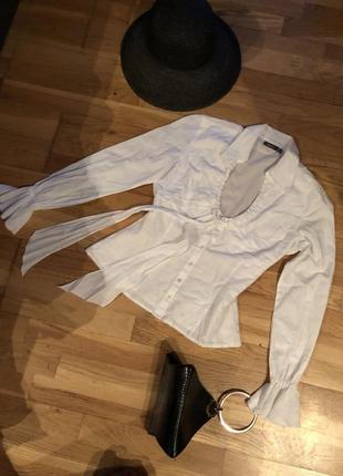 Рубашка с трендовыми рукавами 100% коттон