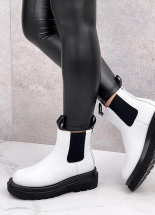 Ботинки натуральная кожа женские белые чёрные кожаные деми ботинки шкіряні жіночі