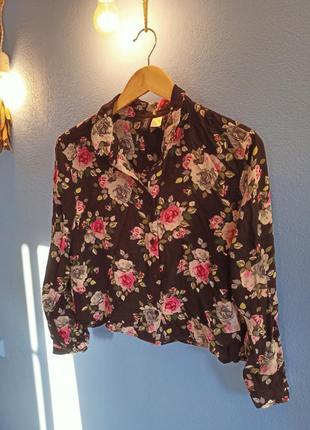 Укороченная рубашка в цветочек