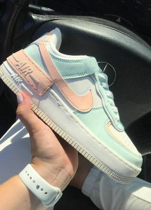 Nike air force 1 shadow🆕женсике кожаные кеды-кроссовки найк аир форс🆕бирюзовые