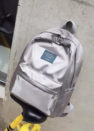 Невероятно красивый серебряный рюкзак портфель сумка серебристый атласный блестящий водонепроницаемый