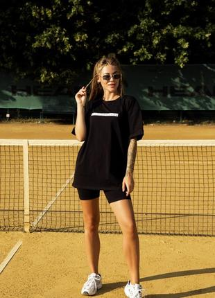 Женский костюм футболка + шорты comfort черный с принтом perspective