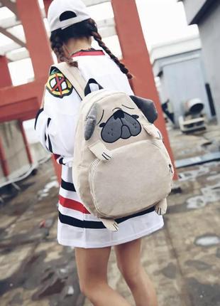 Прикольный рюкзак мопс собачка бежевый портфель сумка бульдог
