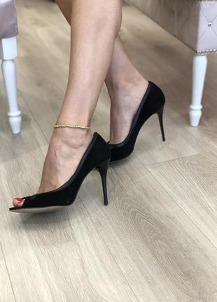 Туфли лодочки черные, открытый носок, 41