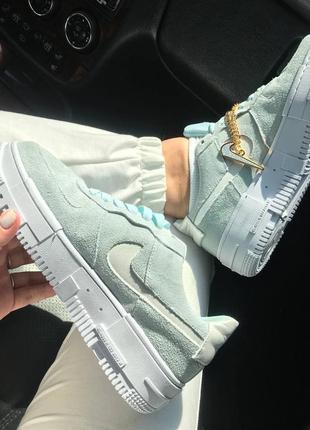 Nike pixel green🆕женсике кожаные кеды-кроссовки найк пиксель🆕зелено-бирюзовые