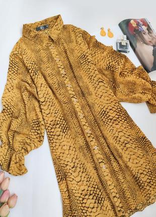 Дуже красиве  плаття сорочка з пишними рукавами гірчичний принт missguided розмір m-l