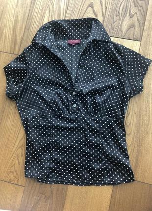 Французская блуза без рукавов в горошек ретро