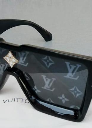 Louis vuitton стильные женские солнцезащитные очки маска большие черные с лого бренда на линзах