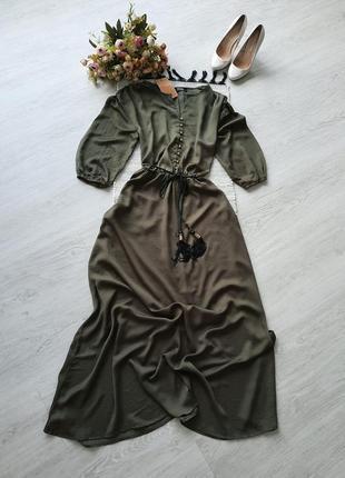 Зеленое платье макси длинное платье зелена сукня максі