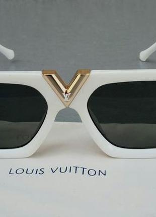 Louis vuitton стильные женские солнцезащитные очки белые с золотыми логотипом