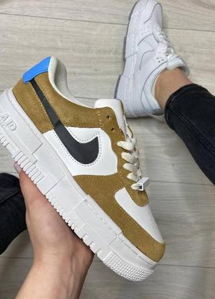 Nike pixel brown🆕женсике кожаные кеды-кроссовки найк пиксель🆕бело-черные с коричневым