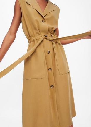 Платье на пуговицах zara. платье-тренч. платье миди с разрезами.