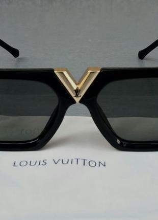 Louis vuitton стильные женские солнцезащитные очки черные с золотым логотипом