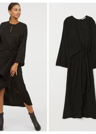 Ассиметричное черное жаккардовое миди платье h&m вискоза жакардова чорна сукня жаккард лео принт