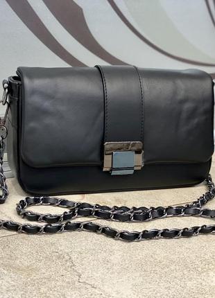 Чёрная сумка кроссбоди кожаная сумка через плечо мягкая сумка кожаная италия