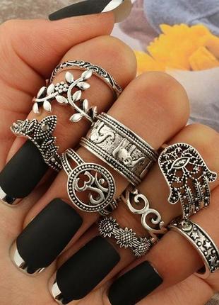Набор серебристых колец фаланговые кольца