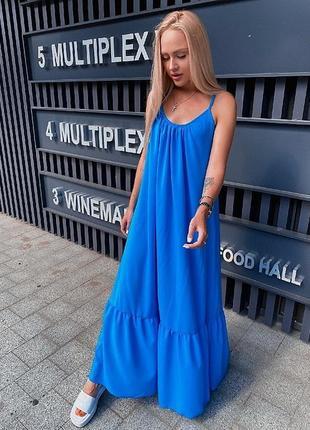 Новое женское стильное летнее синее платье шифон