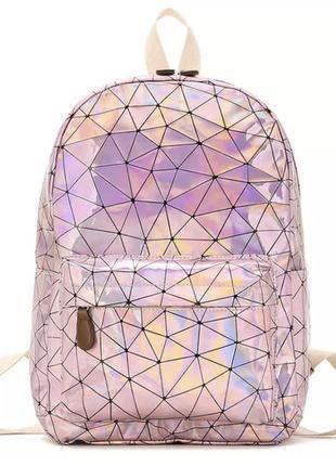 Голографический рюкзак (портфель, сумка) розовый грани блестящий перелив бензиновый