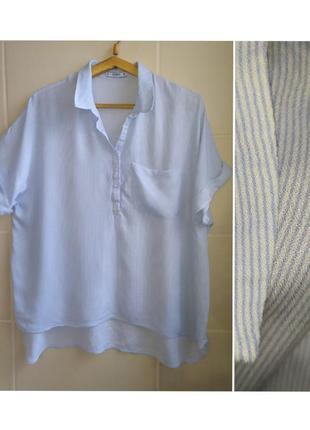 Блуза рубашка с коротким рукавом ткань натуральная большого размера