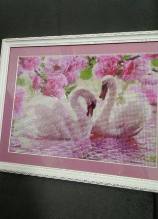 Картина алмазна викладка «лебеді»