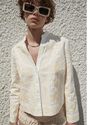 Вышитая льняная куртка рубашка пиджак zara