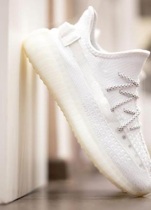 Yezy 350 кроссовки женские белые спортивные текстильные