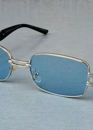 Versace стильные солнцезащитные очки унисекс линзы голубые в серебристой металлической оправе