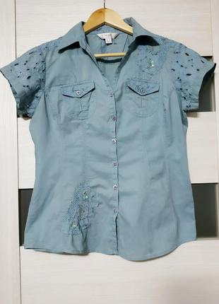 Рубашка блуза хлопок вышивка ришелье next