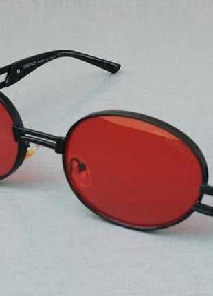 Versace стильные солнцезащитные очки унисекс овальные красные в черном металле
