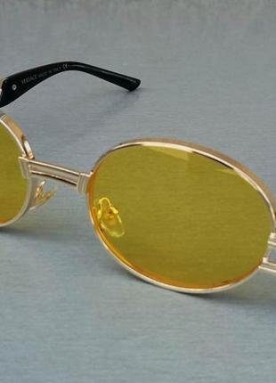 Versace стильные солнцезащитные очки унисекс желтые в золотой металлической оправе овальные