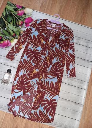 Стильная рубашка в тропический принт