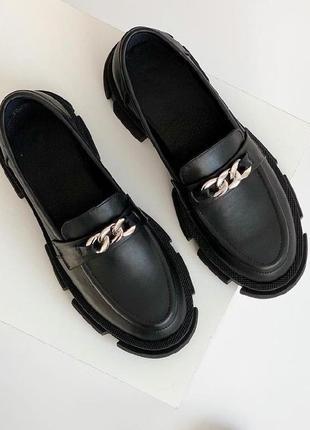 Лофери з натуральної шкіри (устілка теж) натуральная кожа лоферы хит тренд обувь взуття